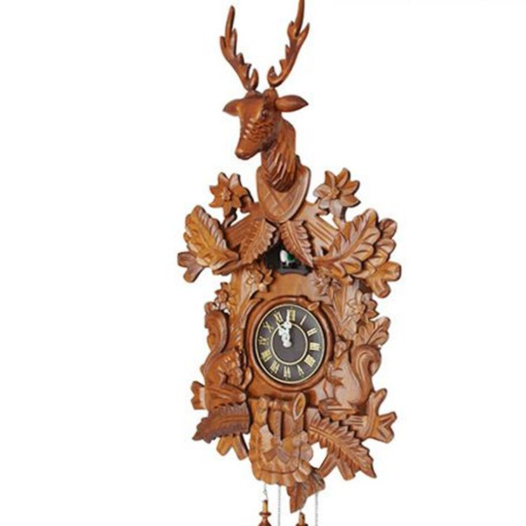 Brown Deer-Carved Hanging Intelligent Sensitive to Light Wall Clock