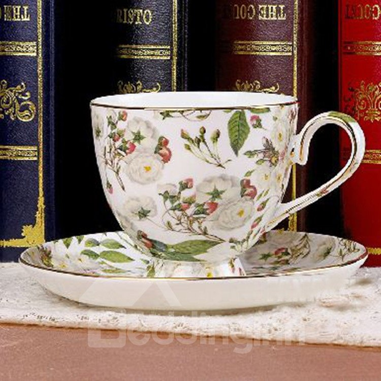 Allluring European Style White Floral Bone China 2 Cups and 2 Saucers Sets