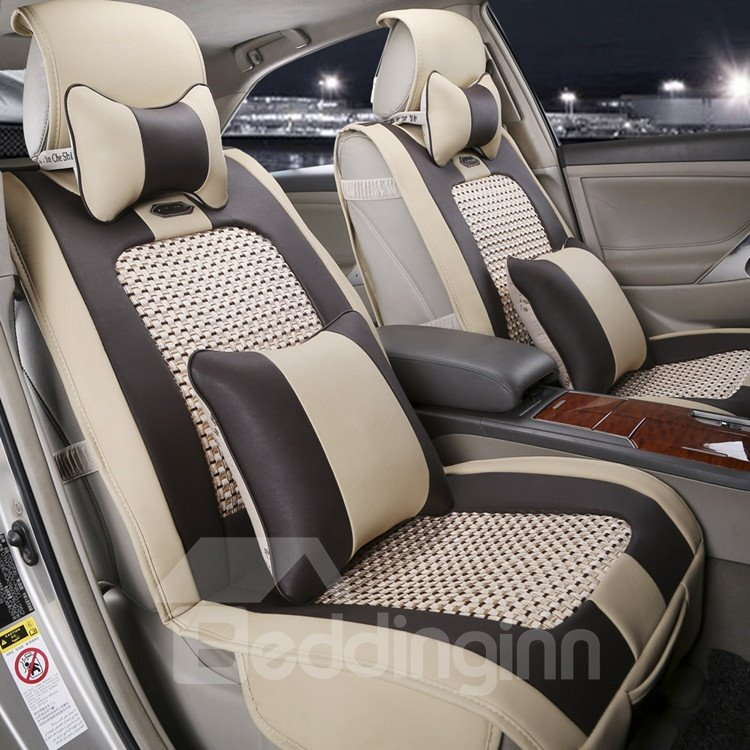 Classic Beige With Black Contrast Color Style Leather Universal Car Seat Covers