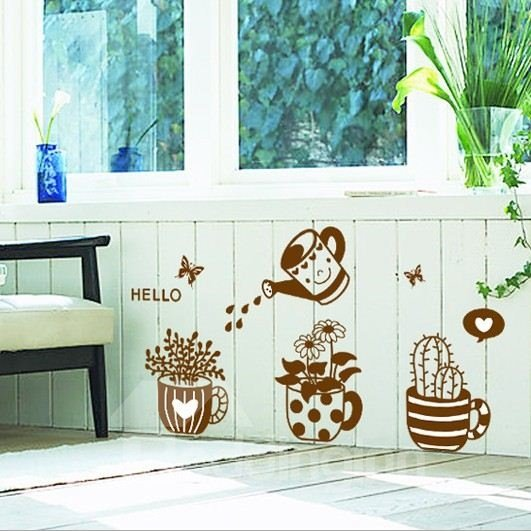New Arrival Cute Cartoon Flowerpot Wall Stickers