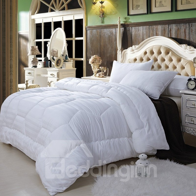 Super Soft White King 100% Cotton Silk Foss Filled Comforter