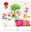 Removable Girl on Swing and Fresh Strawberry Pattern Wall Stickers