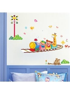 Lovely Cute Cartoon Happy Train and Animal Print Wall Stickers