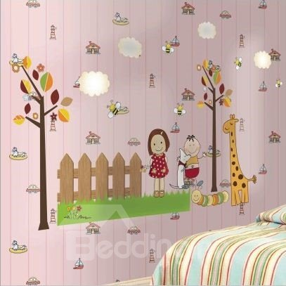 Cheerful Cartoon Children with Giraffe in Garden Print Wall Stickers