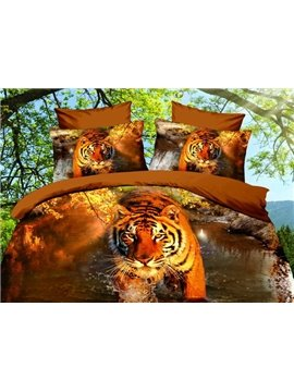 Vivid Tiger 3D Printed 4-Piece Polyester 3D Duvet Cover Sets