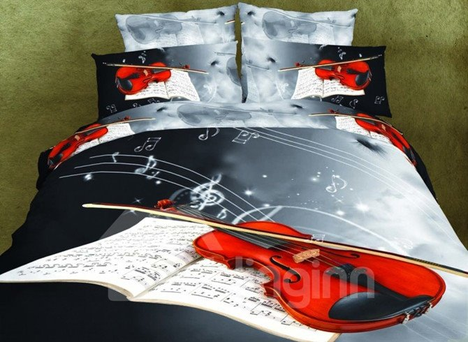 Retro Style Violin Print 4-Piece Polyester 3D Duvet Cover Sets