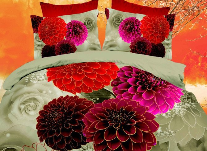 Colorful 3D Daisy Printed 4-Piece Polyester Duvet Cover Sets
