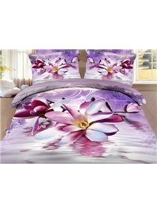 High Quality Elegant Purple Magnolia Print 4 Pieces Polyester 3D Bedding Sets