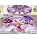 Elegant Purple Magnolia Print 4 Pieces Polyester 3D Bedding Sets