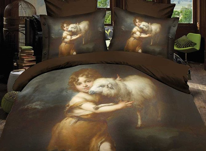 Lovely Child and Sheep 4 Piece Polyester 3D Bedding Sets