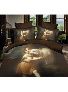 High Quality Lovely Child and Sheep 4 Piece Polyester 3D Bedding Sets