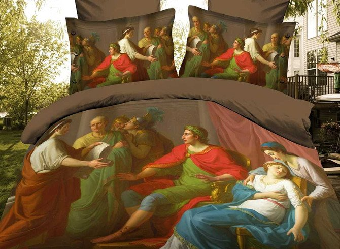 High Quality Lively Oil Painting 4 Piece Polyester 3D Bedding Sets