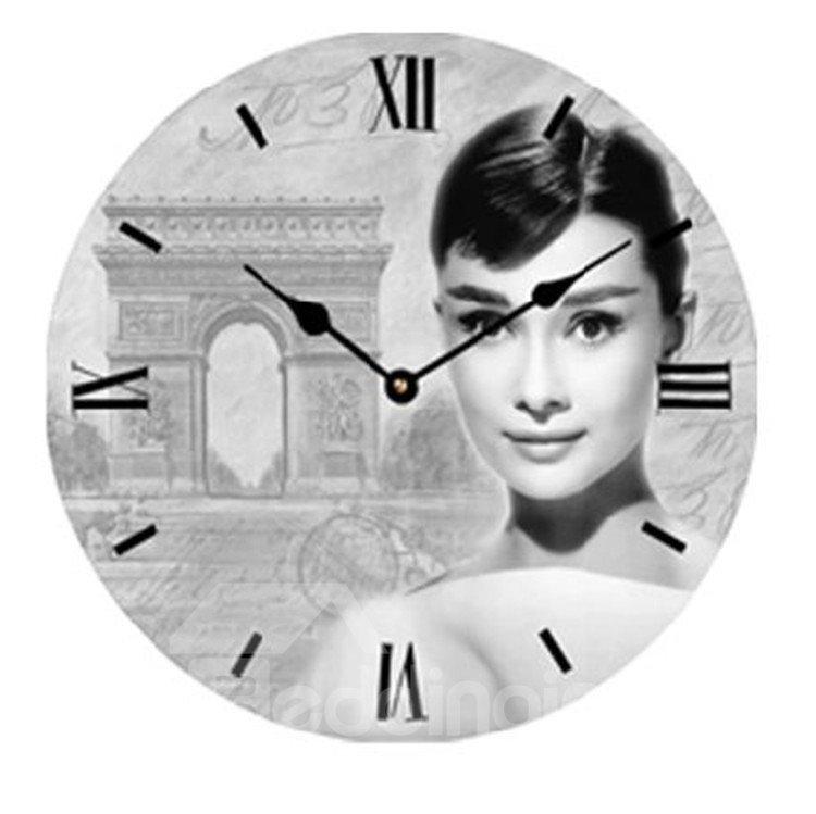 European Style Elegant Audrey Hepburn Wood Wall Clock