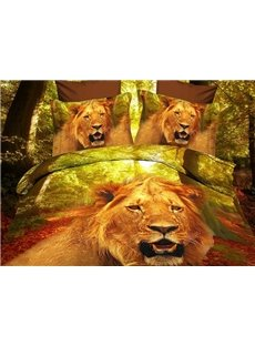 High Quality Ferocious Lion Head Print 4 Piece Polyester 3D Bedding Sets