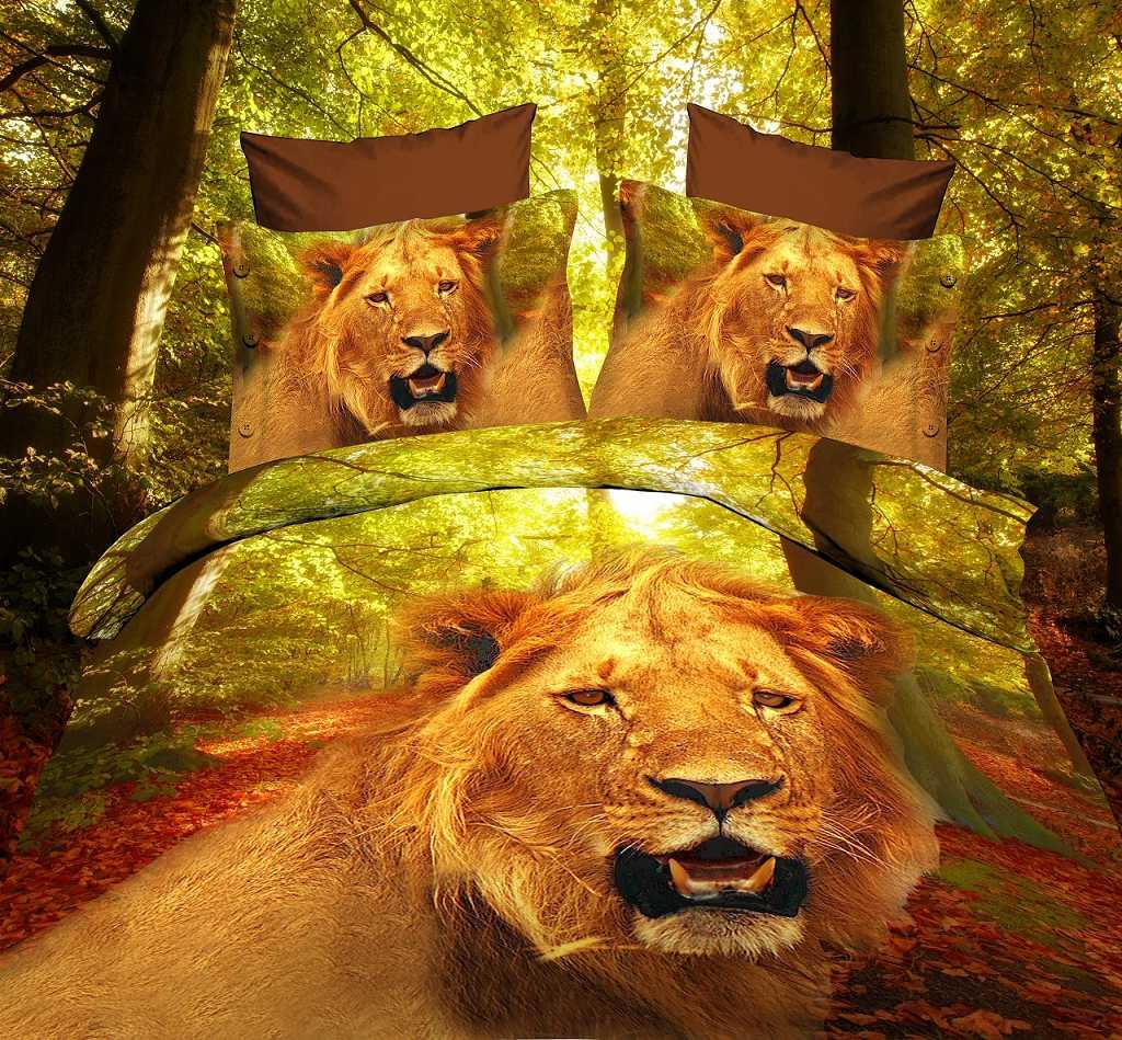 Ferocious Lion Head Print 4 Piece Polyester 3D Bedding Sets