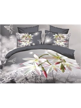 Fancy Lifelike Orchid Print 3D Cotton 4-Piece Duvet Cover Sets
