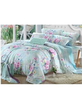 High Quality Pink Flowers 4 Pieces Tencel Bedding Sets