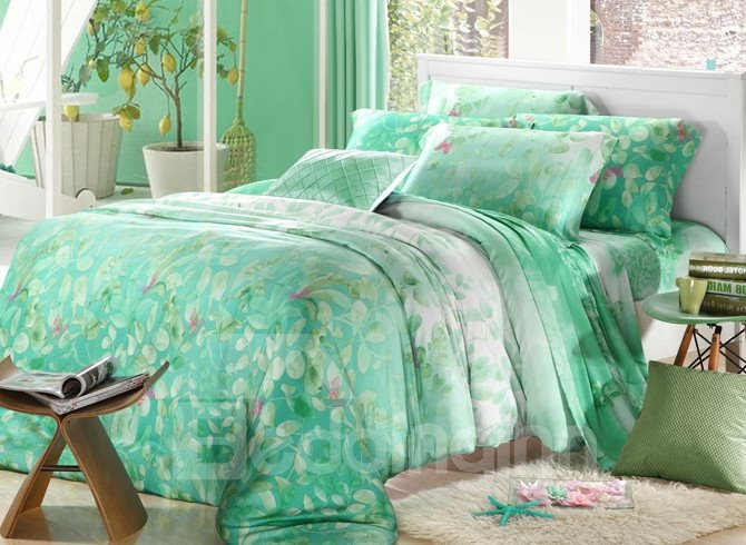 High Quality Simple Style Floral Patterns 4 Pieces Tencel Bedding Sets