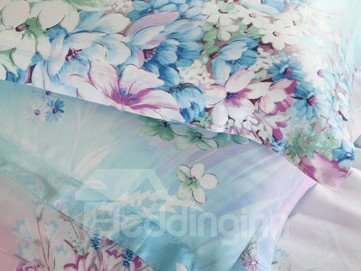 High Quality Pastoral Blue Floral 4 Pieces Tencel Bedding Sets