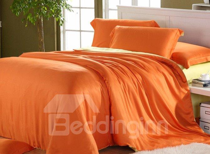 High Quality Elegant Orange 4 Pieces Tencel Bedding Sets