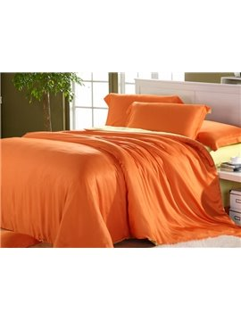 High Quality Elegant Orange 4 Pieces Tencel Bedding Sets