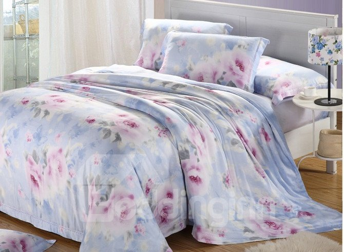High Quality Glamorous Pastoral Floral Tencel Bedding Sets