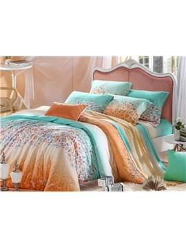 High Quality Comfortable Graceful Floral Patterns 4 Pieces Tencel Bedding Sets