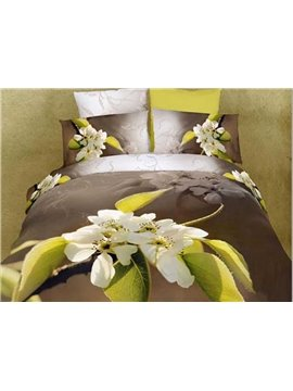 New Fragrant Pear Flower Print 4 Piece 3D Duvet Cover Sets