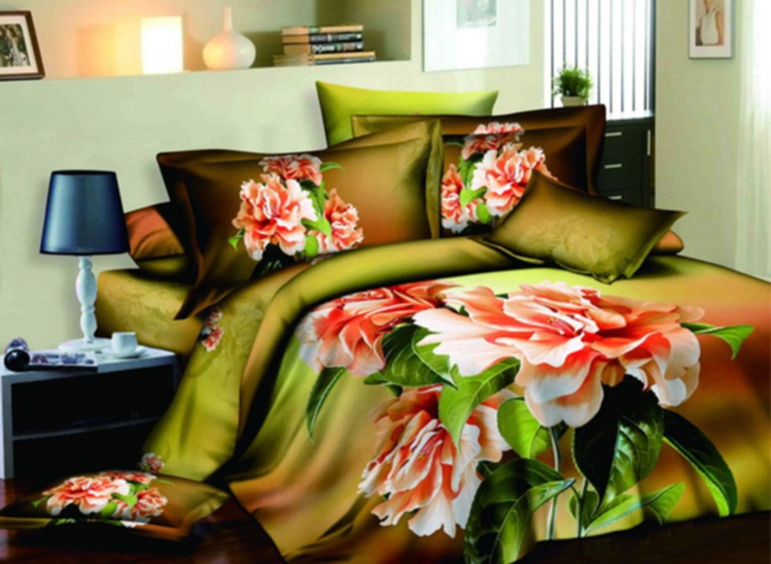 3D Pink Peony and Green Leaves Printed Cotton 4-Piece Bedding Sets/Duvet Covers