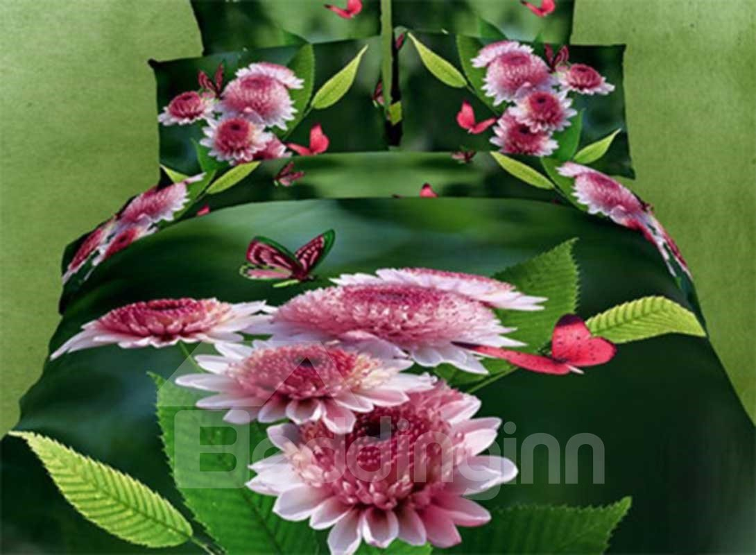 Elegant Pink Butterflies and Flowers Print 3D Duvet Cover Sets