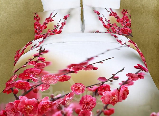 Pink Flowers and Bud Cotton 4 Piece Duvet Cover Bedding Sets