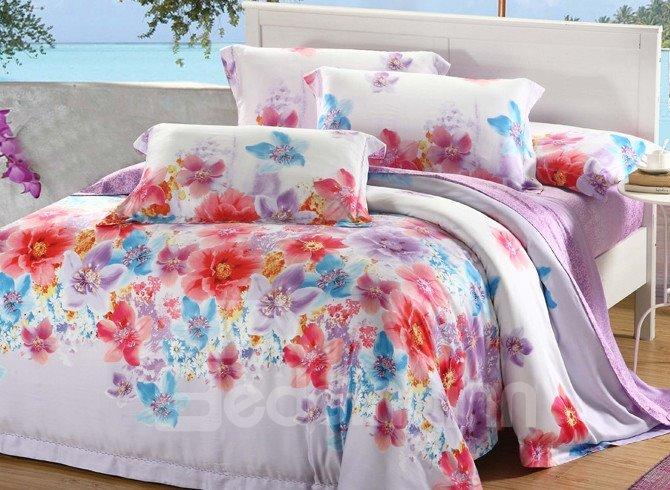 Comfortable Amazing Floral Patterns 4 Pieces Tencel Bedding Sets
