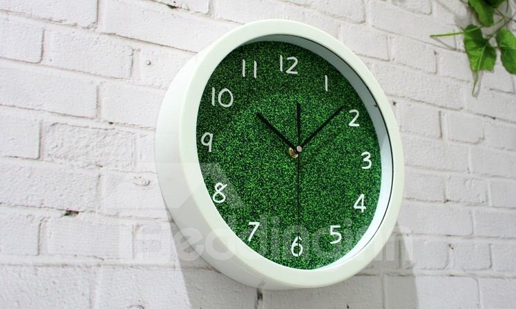 Amazing Simple Style Pastoral Green Wall Clock