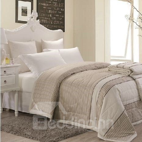 New Arrival Gray and White Stripe Pattern 100% Cotton Summer Quilts