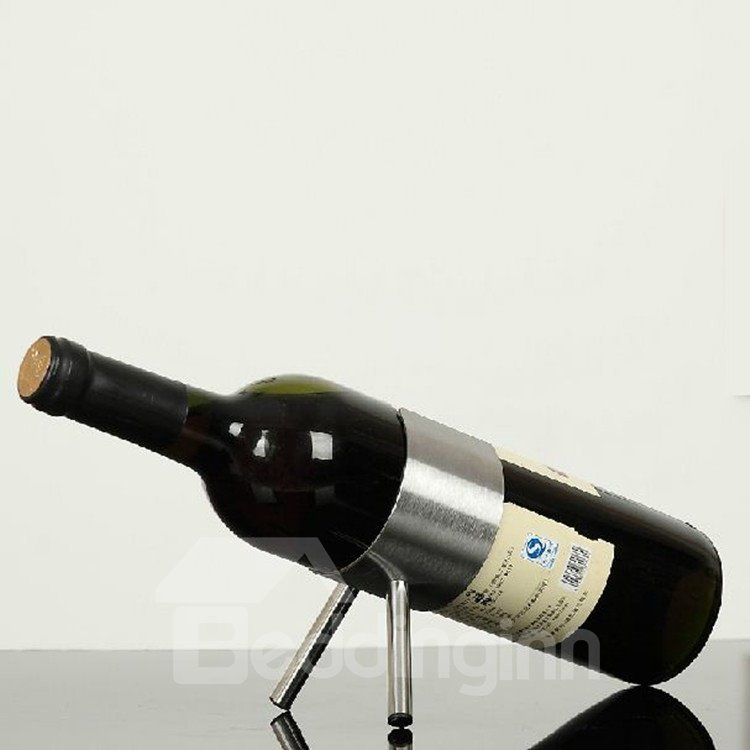 Simple Style Stainless Steel Turret Design Red Wine Rack