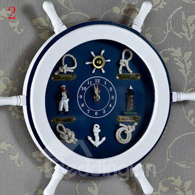 Allluring Retro Mediterranean Style Resin Wall Clock