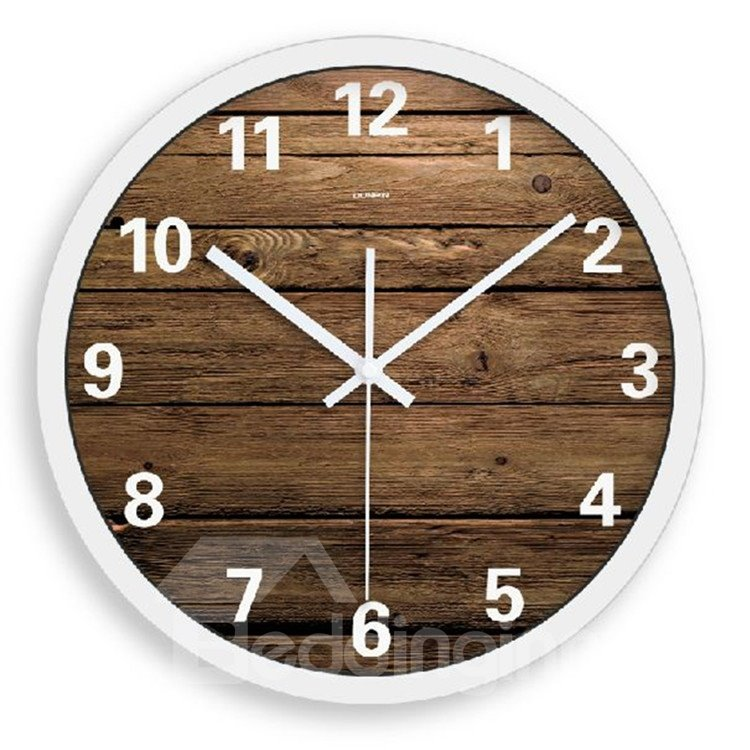 Elegant and Simple Style Wood Grain Home Decoration Wall Clock