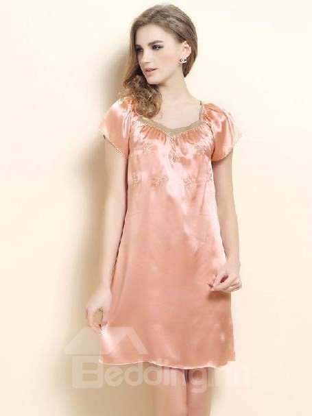High Quality Appliqued Lace Full Silk Loungewear