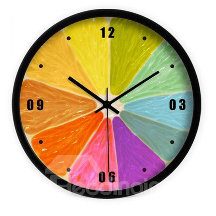 Modern Elegant Simple Style Colorful Orange Segments Design Wall Clock