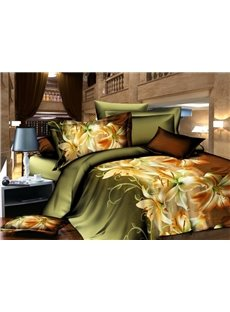 Charming Lily Print 4 Piece Polyester 3D Bedding Sets