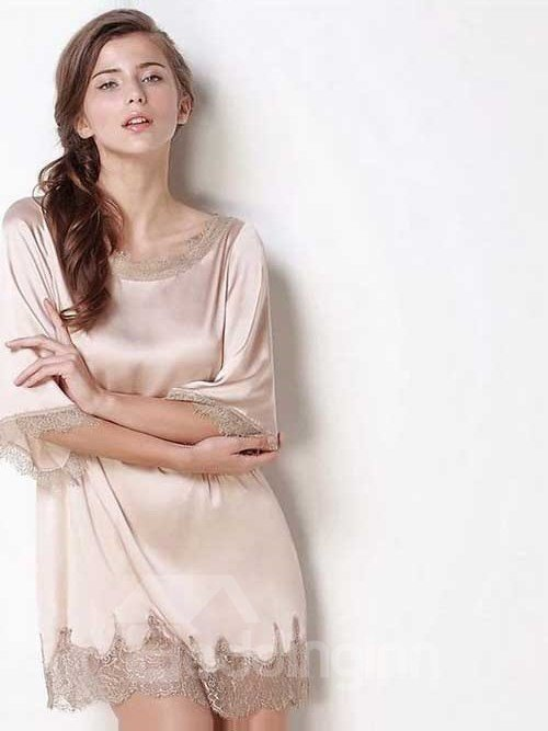 High Quality Appliqued Lace 100% Silk Summer Loungewear