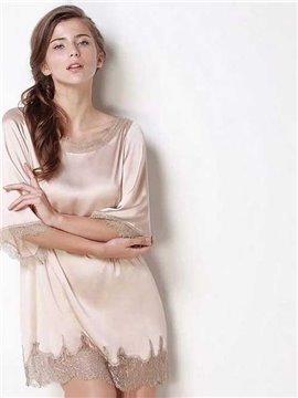 High Quality Appliqued Lace 100% Silk Summer Loungewear