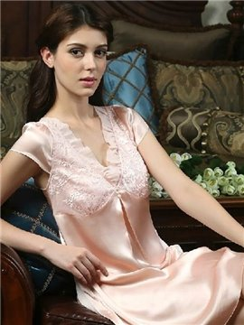 High Quality Spelendid Lace Full Silk Loungewear