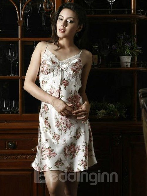 High Quality Romantic Fancy Pink Flower Print Silk Loungewear