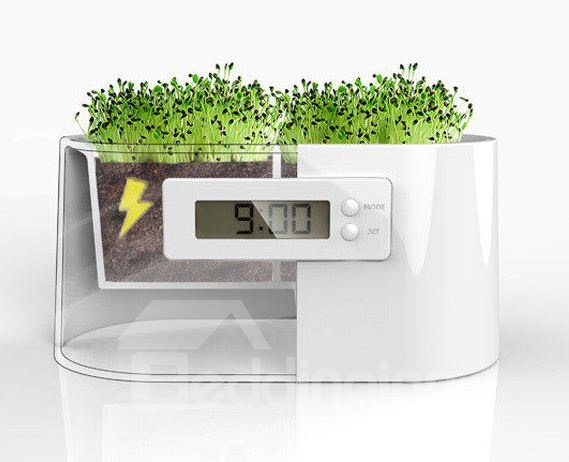 Elegant Creative Plants Conducting Electricity Design Table Clock