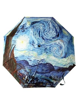 Elegant Creative Oil-painting Style Triple Folding Umbrella