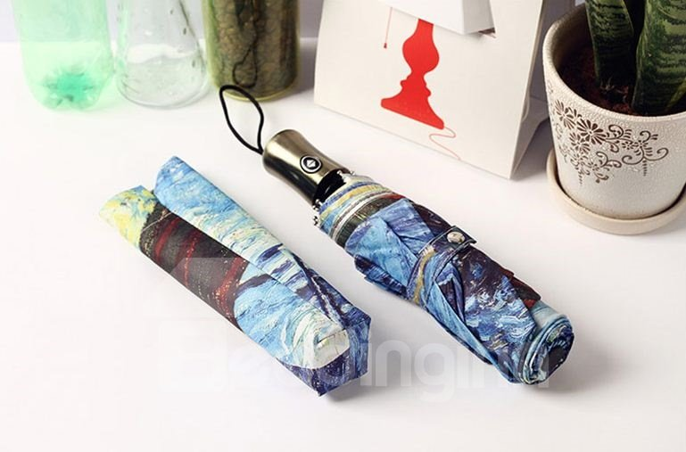 Elegant Creative Oil-painting Style Triple Folding Umbrella