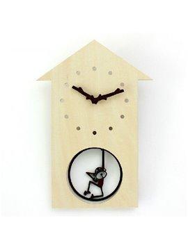 Fancy Swinging Little Monkey Design Wooden Wall Clock