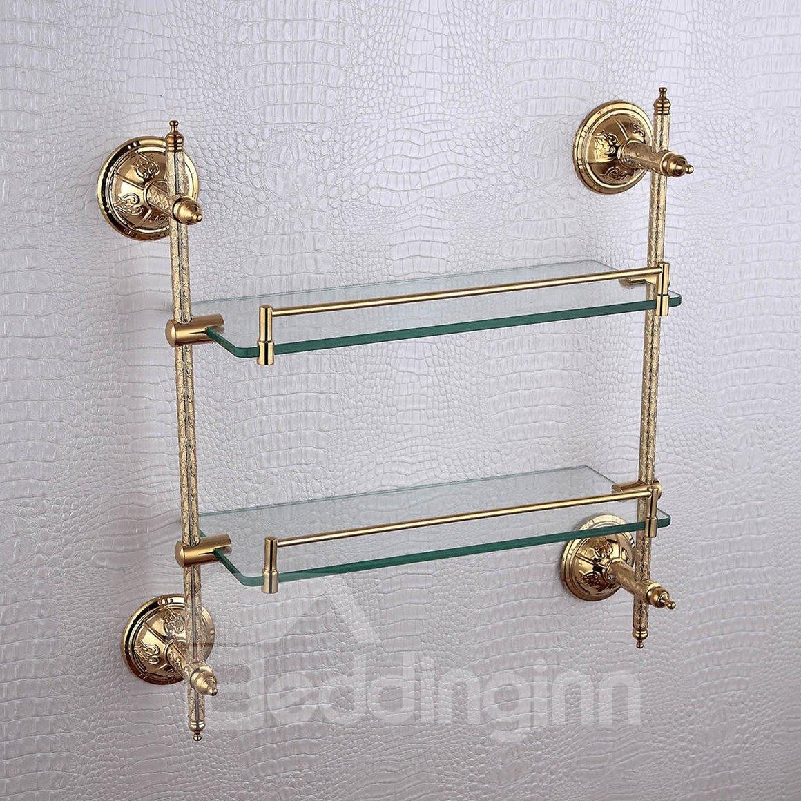 Double layer glass bracket,Brass,Golden finish