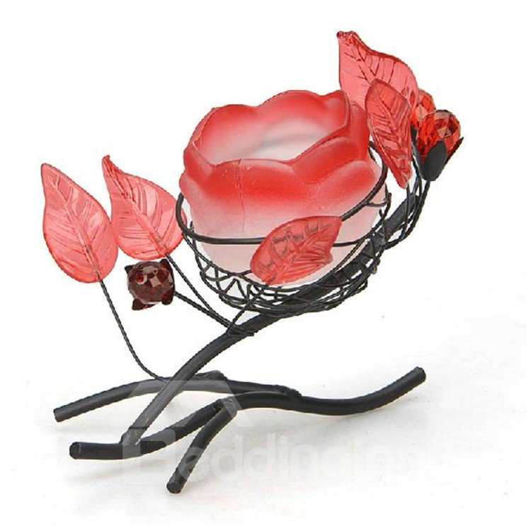 Elegant Romantic Rose Shape Iron Material Candle Holder